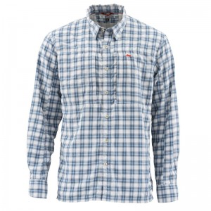Simms Bugstopper Shirt Faded Denim Plaid