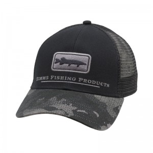 Simms Musky Icon Trucker Hex Flo Camo Carbon