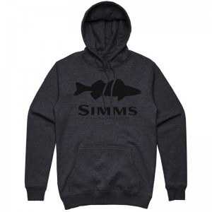 Simms Walleye Logo Hoody Charcoal Heather