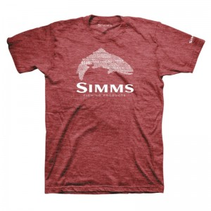 Simms Stacked Typo Logo T-Shirt Red Heather
